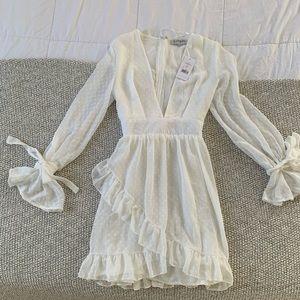 White Polkadot Deep V ShowPo Dress
